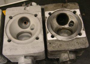 Koneistetut osat ennen ja jälkeen alumiinioksidi puhallusta